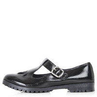 GINGER T-Bar Geek Shoes - Black