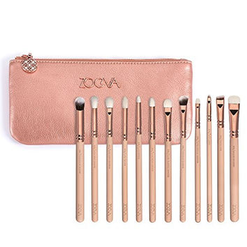 12 PENNELLI EYE BRUSHES BLENDING MAKEUP BRUSHES SET ZOEVA New Rose Golden Complete Eye Eyeshadow Makeup Brushes Set With Case