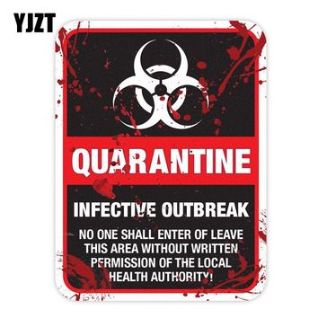 YJZT 15x20CM Funny ZOMBIE Warning Quarantine Infected Area Caution Retro-reflective Car Sticker Decals C1-8024