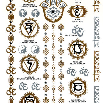 Tattoos YOGA & CHAKRAS / Sets golden temporary tattoos