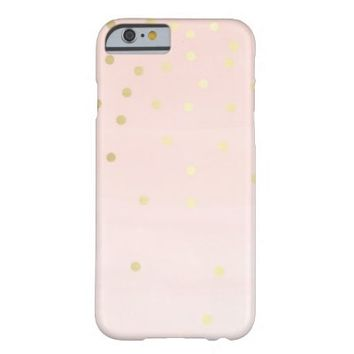 Girly Pale Pink Gold Sparkle Glitter Polka Dots Barely There iPhone 6 Case