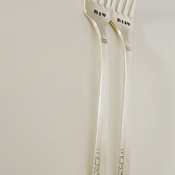 Mr. and Mrs wedding forks. Hand stamped- silverplated- vintage- wedding gifts, anniversary gifts.
