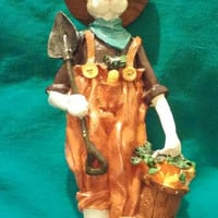 Charming 11 Inch White Farmer Rabbit Figurine With Rake and Bucket of Carrots