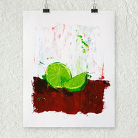 Lime Painting, Red and Green Art, Abstract Fruit Art, Contemporary Art, Original Oil Painting, Kitchen Art, Modern Wall Decor, Colorful Art