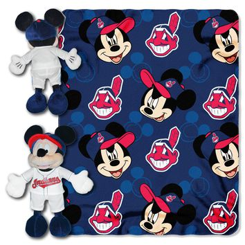 "Indians  OFFICIAL Major League Baseball & Disney Cobranded, Mickey Mouse Hugger Character Shaped Pillow and 40""x 50"" Fleece Throw Set  by The Northwest Company"
