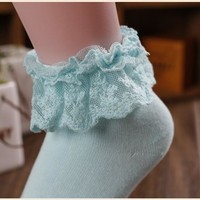 Sweet Princess Girl Cute Ladies Vintage Lace Ruffle Frilly Ankle Socks summer style charming women's clothing