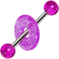 Purple Glitter Lifesaver Barbell Tongue Ring | Body Candy Body Jewelry