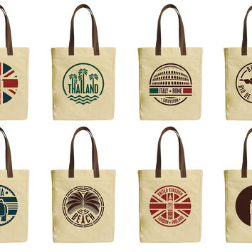 Travel Stickers Set Beige Print Canvas Tote Bags Leather Handles WAS_30