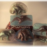 Dinosaur Glycerin Soap Set of Three Stegosaurus T-rex and Pterodactyl | Soapsmith - Children's on ArtFire