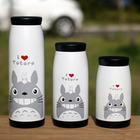 Totoro cup water vacuum stainless steel iopened cup students mug cup cartoon  Miyazaki Thermoses drinkware free shipping