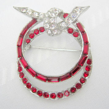 Vintage Pell Signed Red Channel Rhinestone Brooch