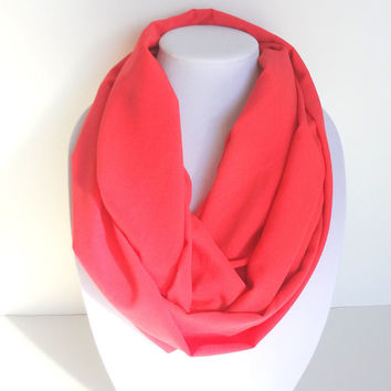 Coral Scarf, Infinity Scarves, Spring Scarf, Bright Scarf, Women's Circle Scarves