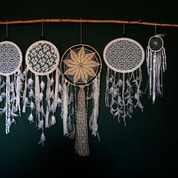 5 set Wedding Dreamcatcher, White Dream Catcher,  Large Dreamcatcher, Bohemian Decor, Large Dream Catcher, Boho wall Art, Boho wedding decor