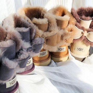 """""""UGG"""" Fashion Casual Wool Winter Women Bowknot Flat Warm Snow Ankle Boots G"""