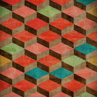 Geometric Art Prints - Interior Art for Home or Office - red, turquoise, green, orange scallops and 3D squares - single print or set of two