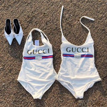 White GUCCI Swimwear Swimsuits Bikini Set Bathing Suits