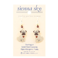 "Sienna Sky ""Pugsly"" Pug Puppy With Red Heart Earrings"