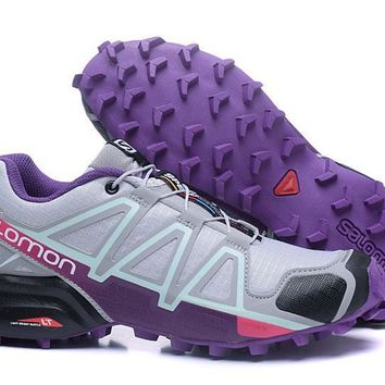 Salomon Women's Speed Cross 4 Trail Running Shoe Gray/Purple US5-9.5