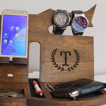 NightStand Anniversary Gift for Men Desk organizer Nightstand Dock Wood Organizer Docking station Glasses holder Galaxy iphone Charging dock