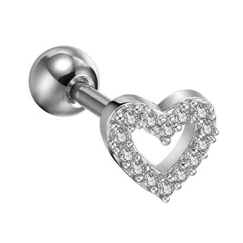 BodyJ4You Tragus Earring Clear Crystal Hollow Heart 16G Piercing Jewelry