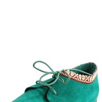 Sandy22 Stitch Detail Laced Desert Flats AQUA - Desert Boots - Popular
