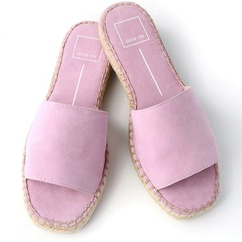 Bobbi Orchid Suede Leather Espadrille Slides
