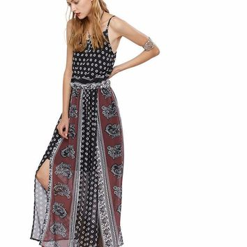 ZAFUL Boho Dress Summer Women Beach Dress Bohemian Maxi Loose Strapless Sexy Retro Nation Printing slit Chiffon Dresses