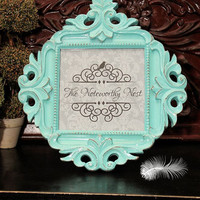 Amazing ornate frame // ornate picture frame // Unique frame // Gift Frame // Beach theme // blue frame
