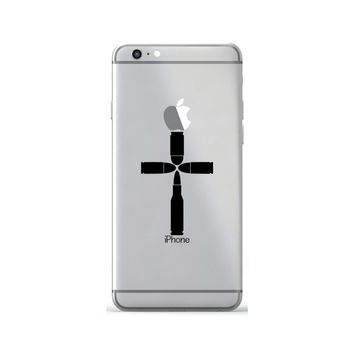 Bullet Cross Religious Decal Sticker Skin For iPhone 6 6s Plus Samsung Galaxy S7 Case Decal Sticker Macbook Air Sticker Laptop Decal Jesus