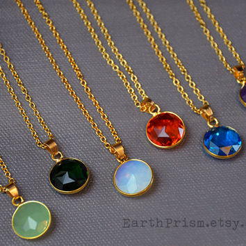 Faceted Stone Pendant Necklace   Round Stone Necklace   Gold Chain   Round crystal Pendant Necklace