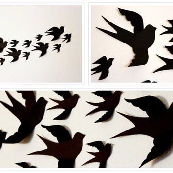 Birds 3D Wall Decor, 3D Wall Art, Nursery, Boys Room Decor, Event, Wedding,3d birds,Black, Handmade By MyDreamDecors