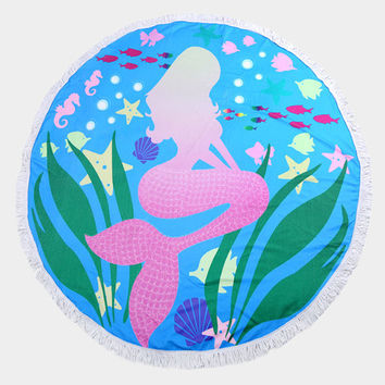 Aqua Blue & Pink Multi-Color Mermaid Round Terry Towel Multi-way Round Beach Throw with Tassel Trim Beach blanket / Beach towel / Wrap / Rug
