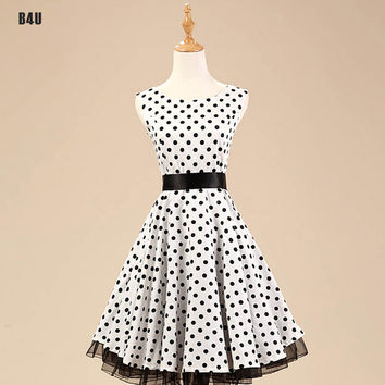 Popular Summer Style 40s 50s 60s Rockabilly Retro Vintage Swing Dress Polka Dots Cotton Party Dress Plus Size vestidos VD0109