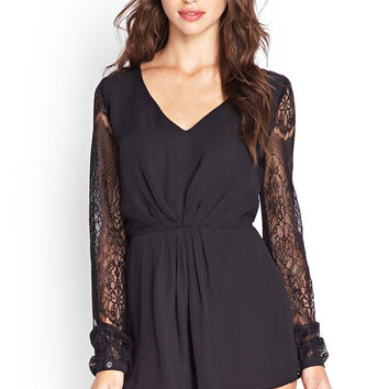 Floral Lace Pleated Romper