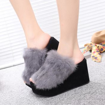 Winter Korean King Size Rabbit Thick Crust High Heel Slippers [11192773639]