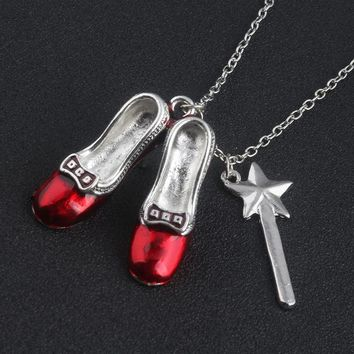 Free shipping 20pc/lot Wizard of Oz Alice in wonderland Sexy Red Shoes and Magic Wand Stars Charm necklace Girls women jewelry