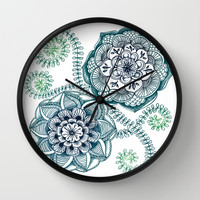 Teal Floral Doodle Wall Clock by Micklyn