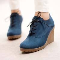 Ankle High Thick High Heels Round Toe Lace-Up Women's Winter Boots