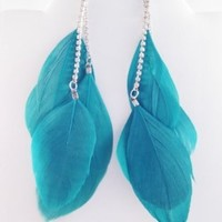 One New Pair of Vivid Teal Three Feather Earrings with Rinestones