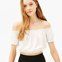 T-shirt with gathered bardot neckline - Tops - Bershka United Kingdom