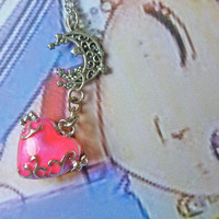 Sailor Moon Inspired Heart Moon Locket Treasure Box Charm Necklace