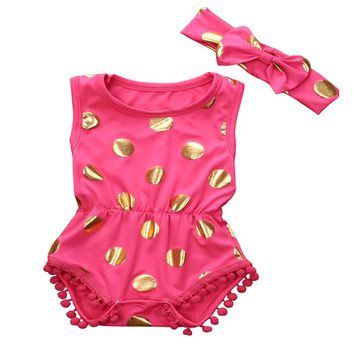 Baby Girl Gilding Adorable Dot Polka Romper 2017 new arrival fashion Summer Jumpsuit Sunsuit Outfits Clothes Set Age 0-18M