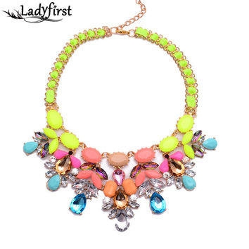 New Arrival Fashion ZA Shourouk Necklace Pendants Vintage Chain Exaggerated Choker Statement Necklace B5117