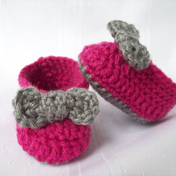 Crochet Baby Ballet Shoes, Pink and Grey Ballet Slippers, Baby Girl Booties, Newborn to 3 months