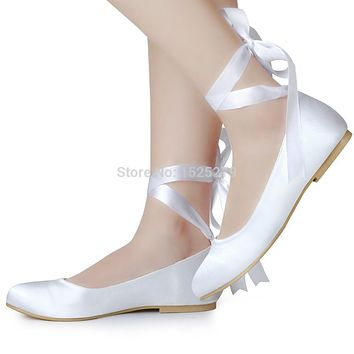 EP11105 US Bride White Ivory Lace-up Women Shoes Bridal Party Flats Round Toe Comfort Ribbons Satin Lady Wedding Shoes