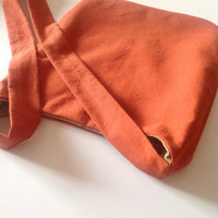 Burnt Orange CrossBody Hobo Bag - Organic Cotton Bohemian Bag
