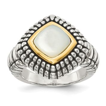 Sterling Silver Two Tone Silver And Gold Plated Sterling Silver w/Mother of Pearl Ring