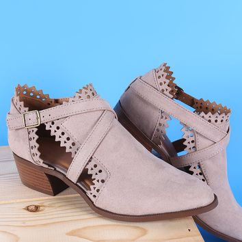 Qupid Perforated Suede Zigzag Cutout Cowgirl Ankle Boots