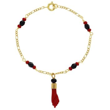 18k Gold Plated Evil Eye Protection Simulated Azabache Red Figa Hand Bracelet 7.5""