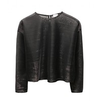 saint laurent - cropped metallic mesh top